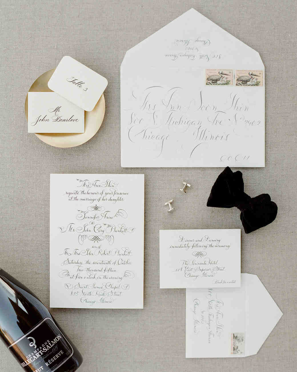 classic invitation with calligraphy flourished style