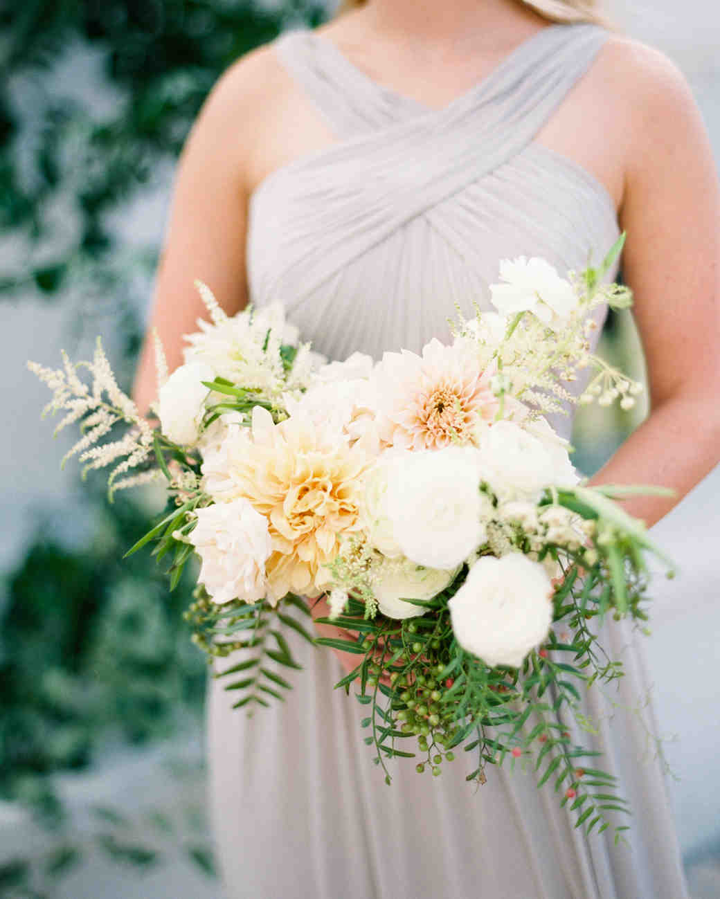 bride bridesmaid dahlia bouquet white yellow flowers