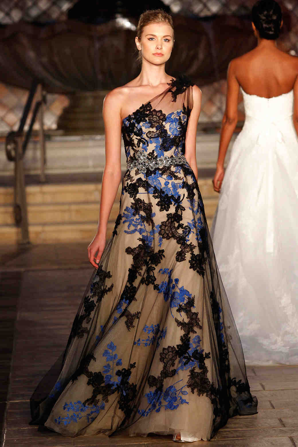 Enzoani black and blue wedding dress
