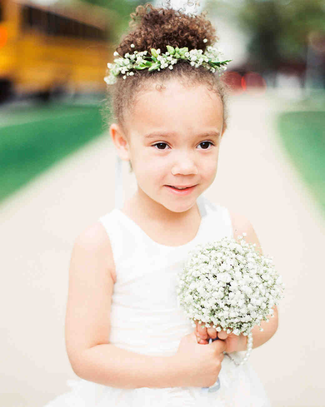 Hair accessories your flower girl will love martha stewart weddings flower girl hair natural hair in bun izmirmasajfo