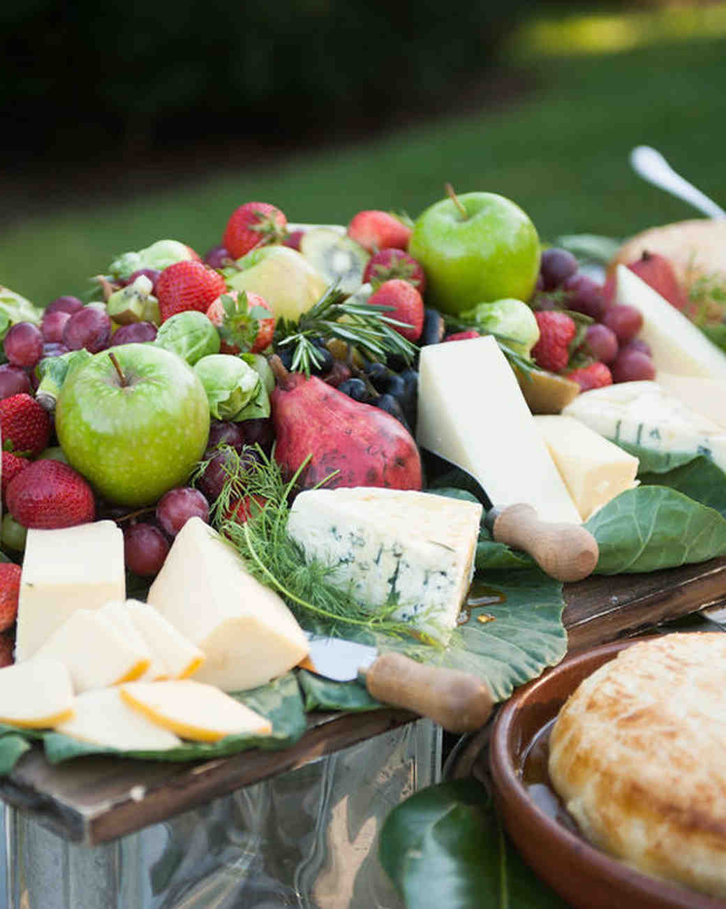 fruit and cheese display during cocktail hour