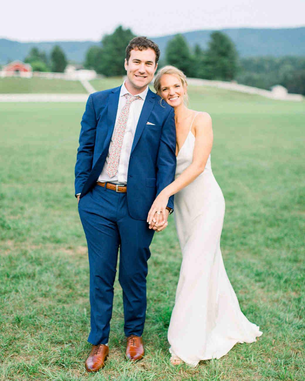 lauren josh wedding couple holding hands