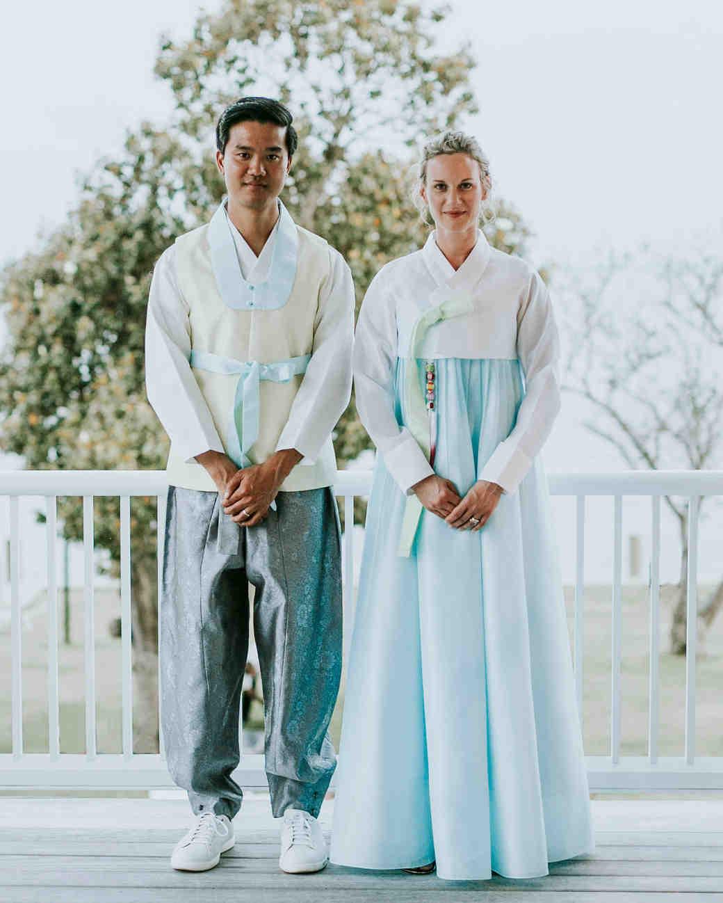 leah michael wedding couple hanbok