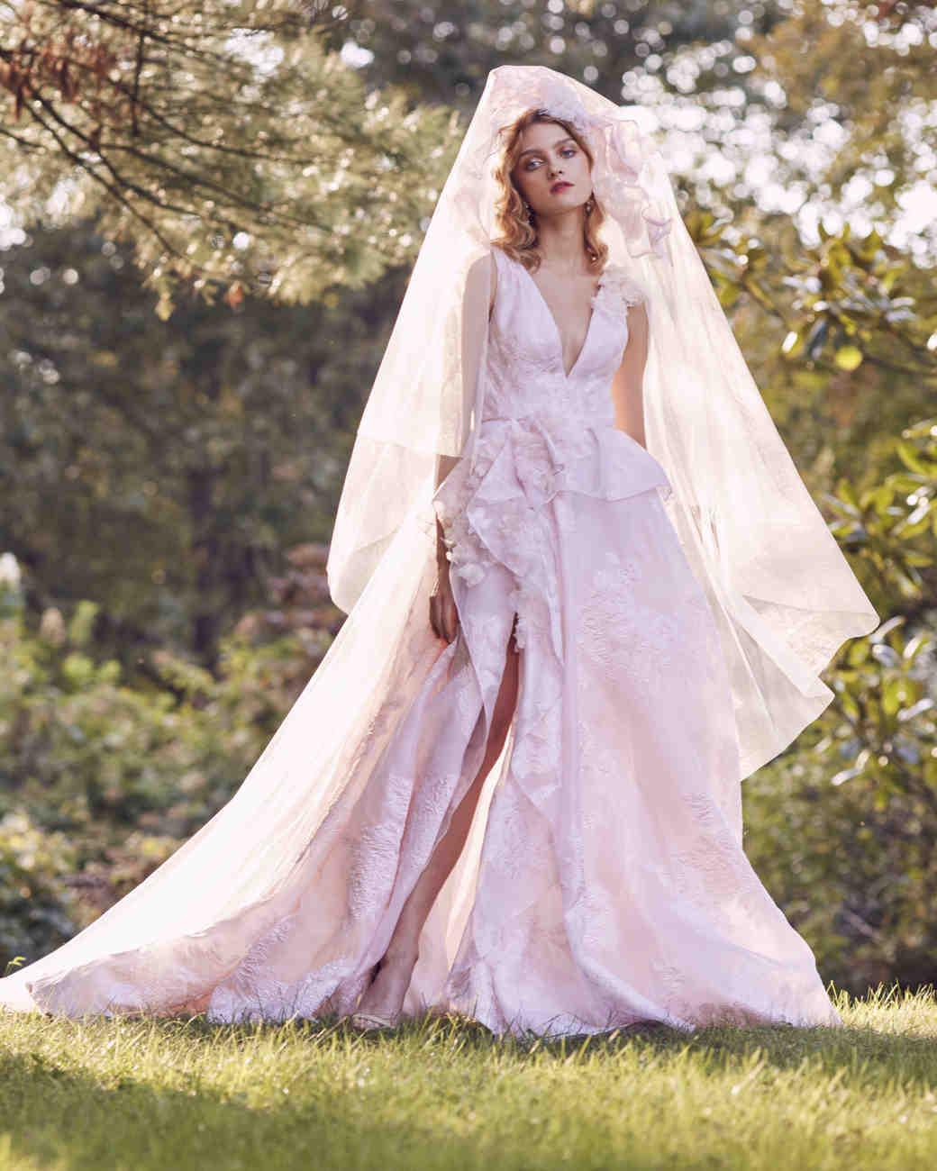 Marchesa pink v-neck wedding dress fall 2019