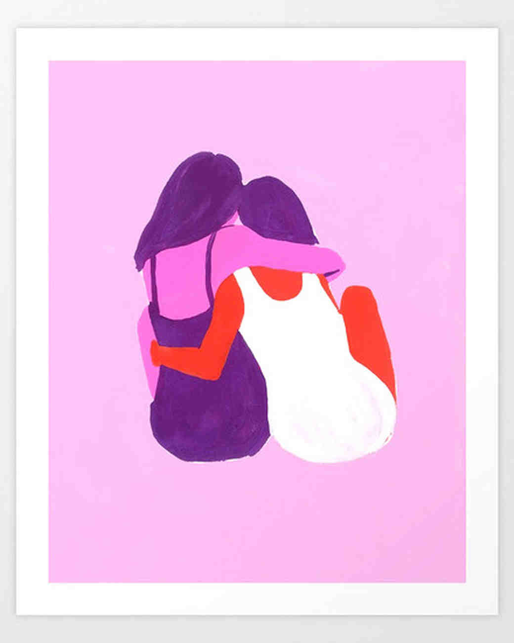 girls hugging print