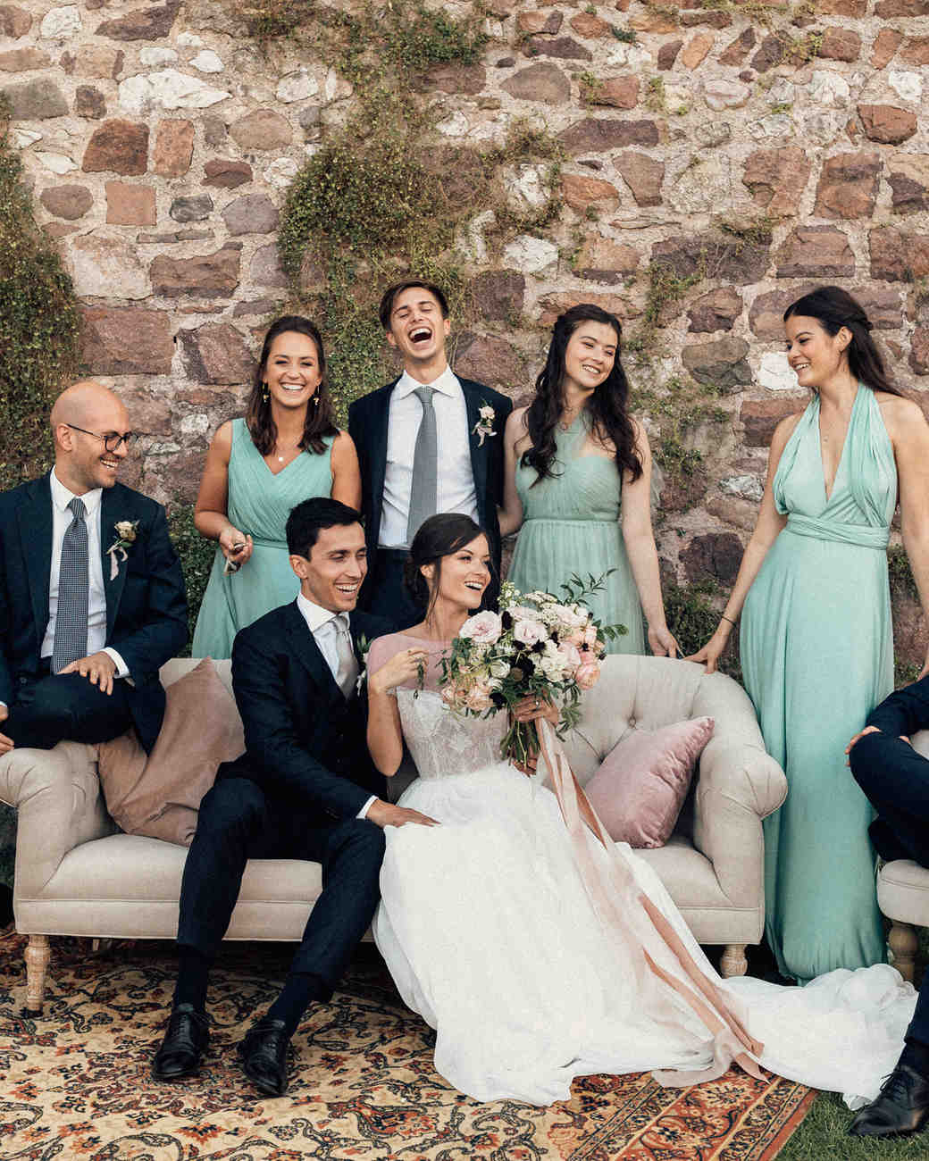 natalie paul wedding party on couch