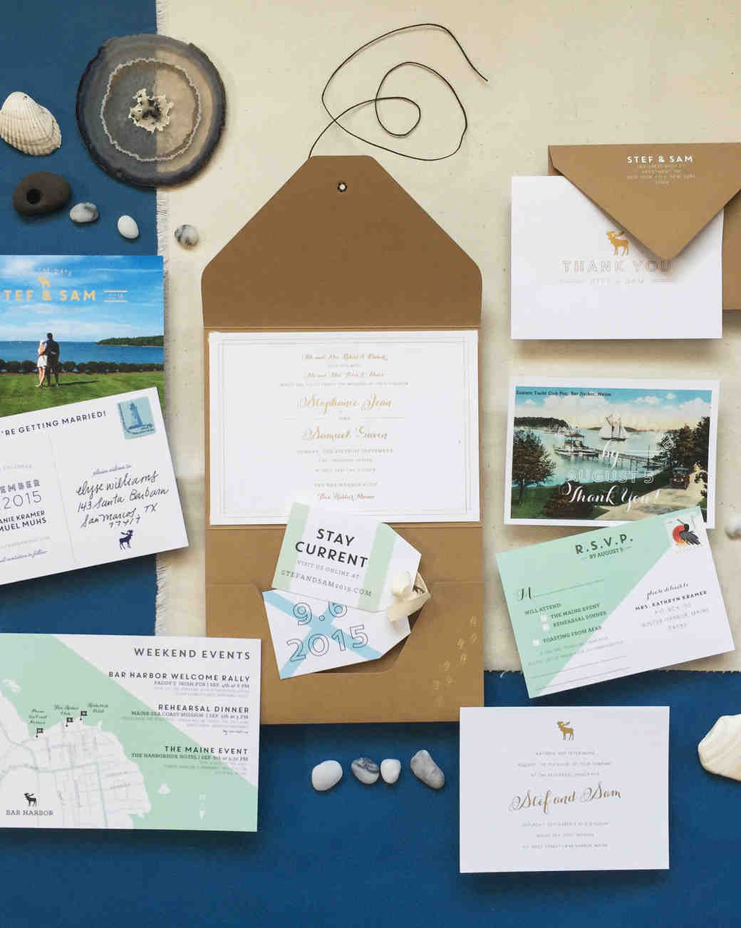 nautical invitation set with land and sea design elements