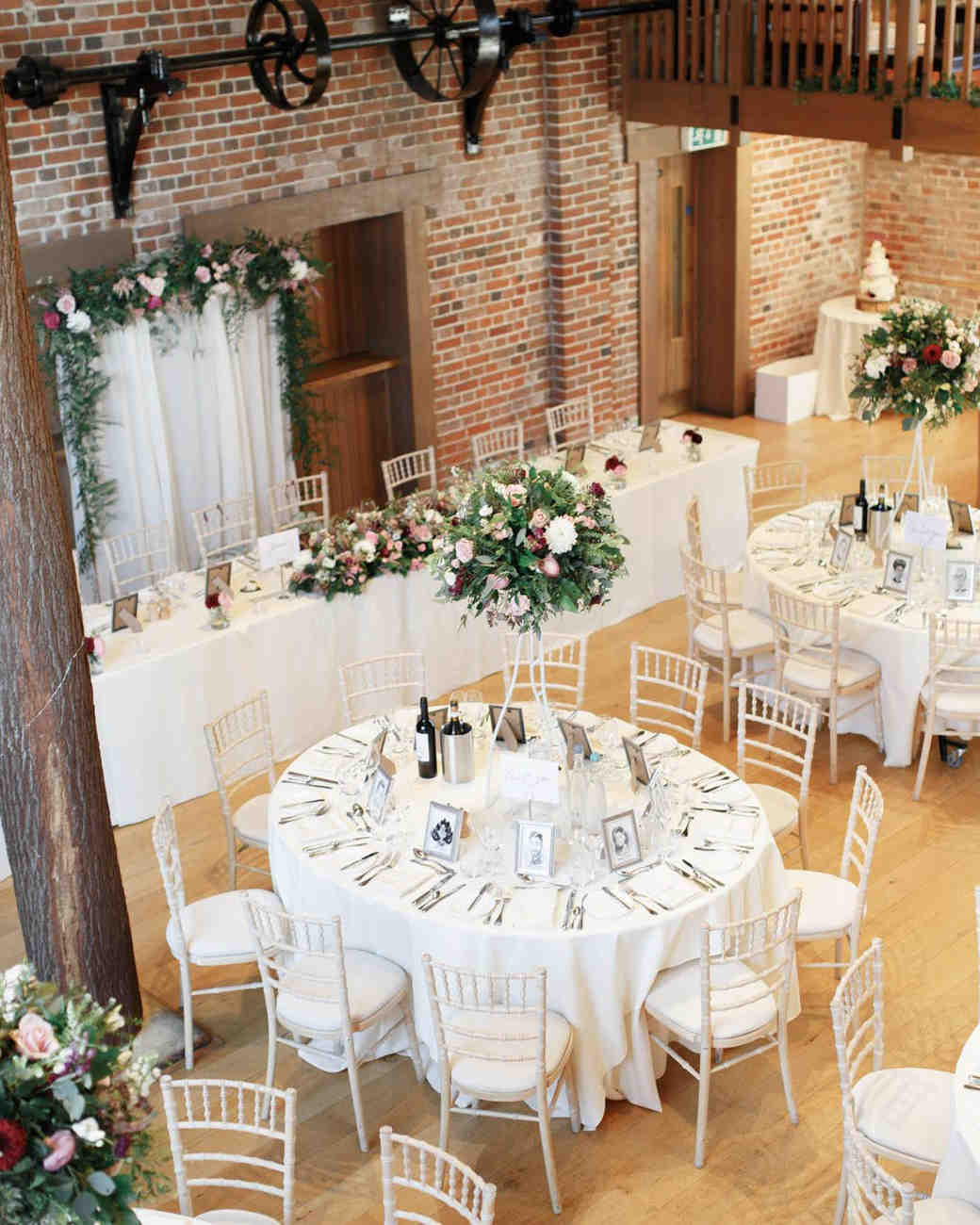 ryan thomas wedding reception wooden and brick room from above
