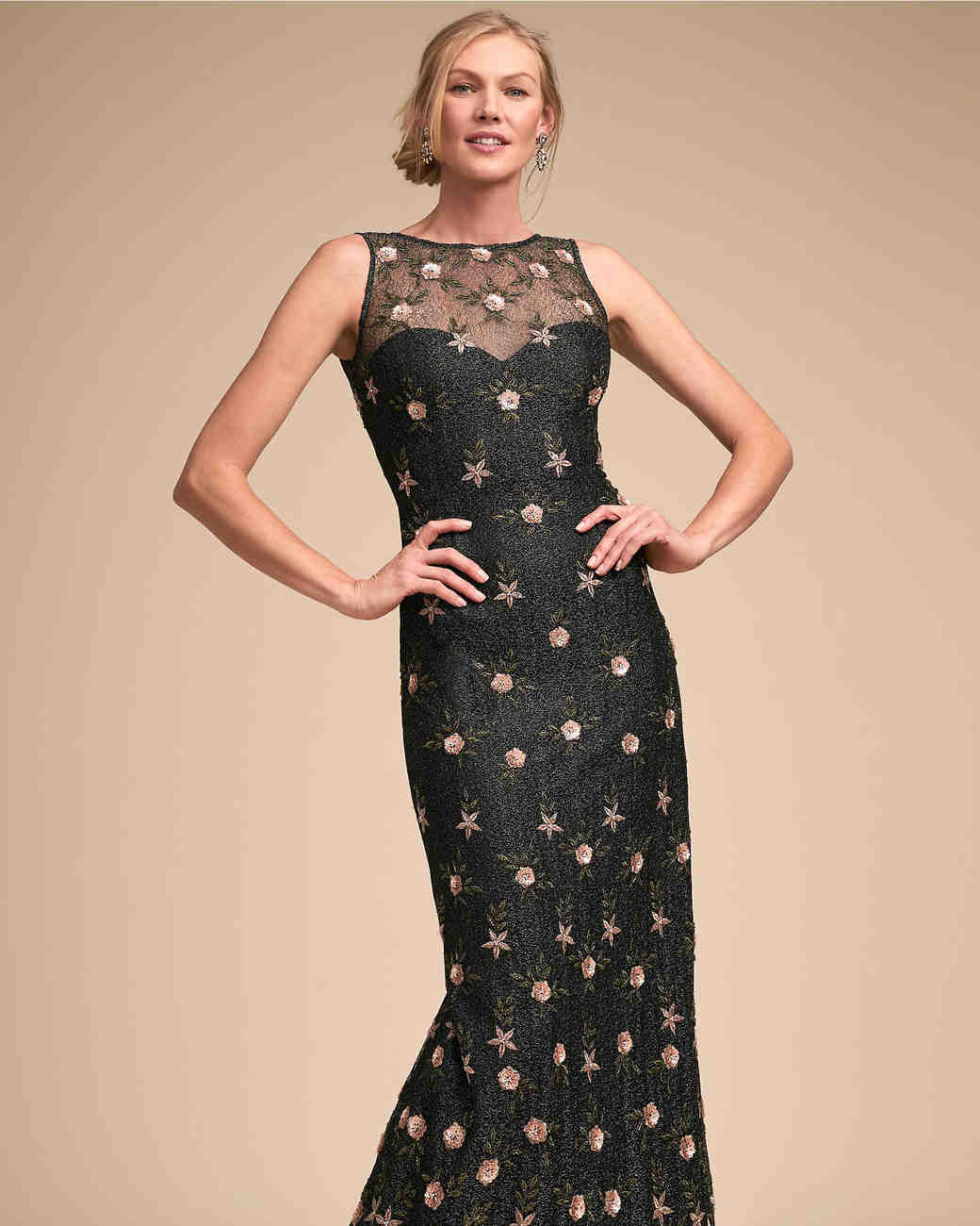 BHLDN Black Printed Mother of the Bride Dress