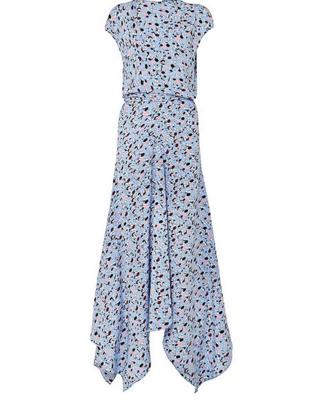light blue long printed gown