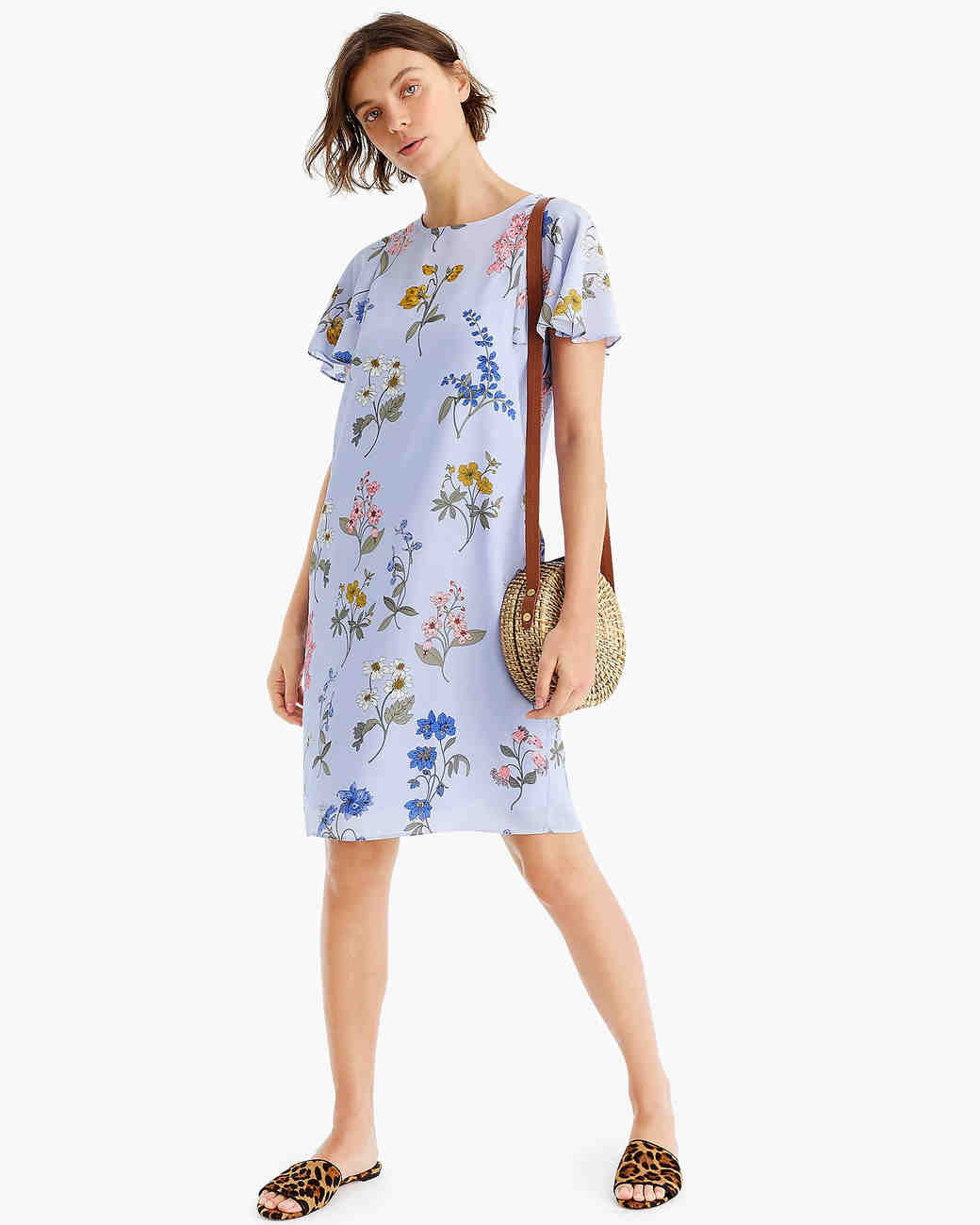 floral shift printed mob dress with flutter sleeves