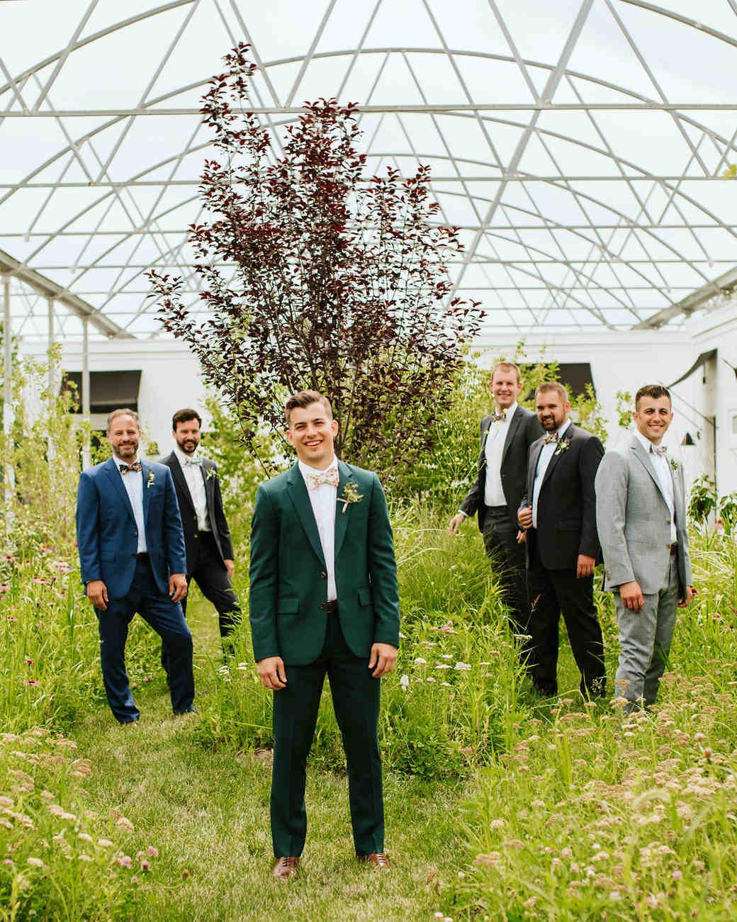 rose chris wedding groomsmen in greenhouse