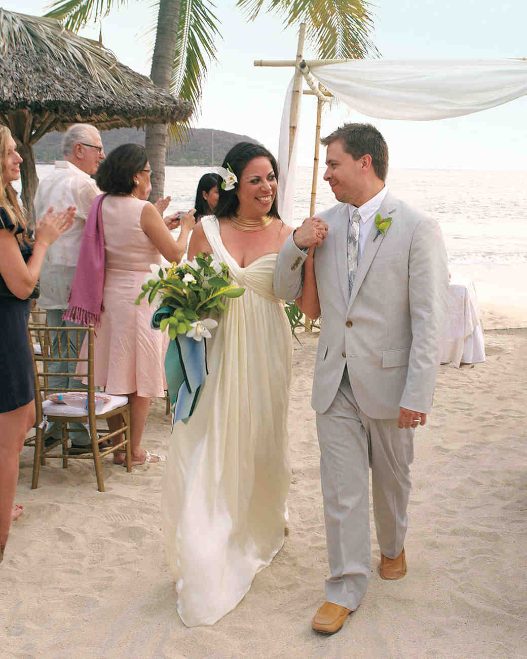 Weddings In Mexico: A Navy-and-White Destination Wedding On The Beach In
