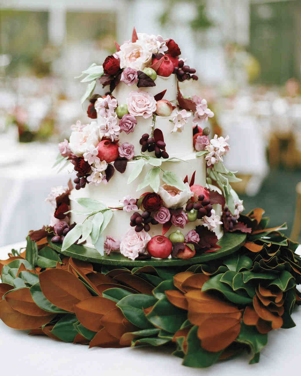 Fall Wedding Cake with Foliage and Flowers