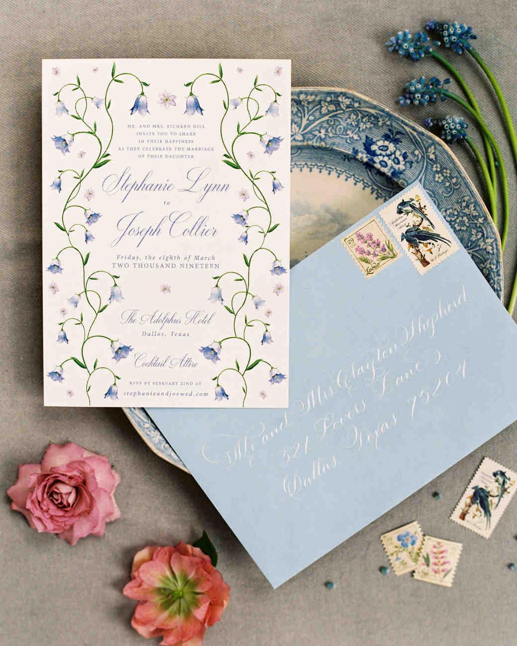 stephanie joe wedding invitation and envelope