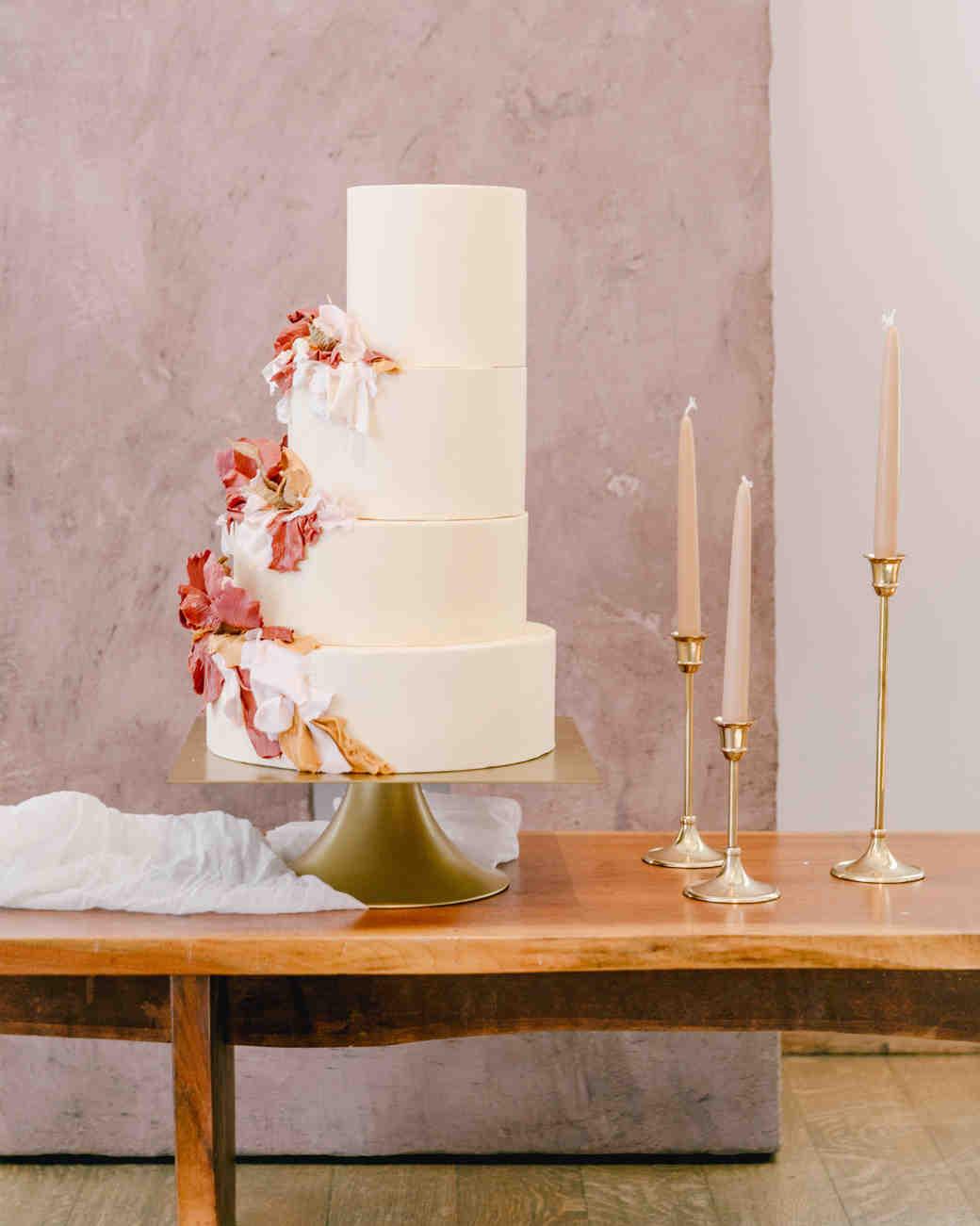 unique one sided wedding cake
