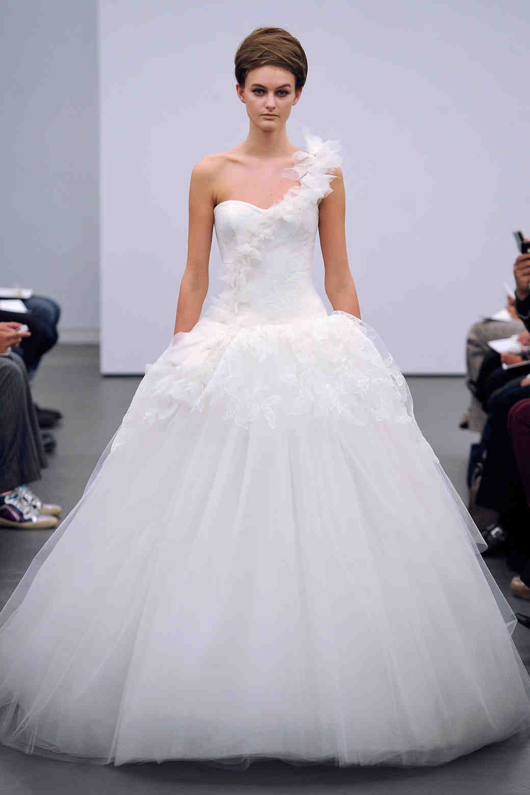 3e4c801e54de One-Shoulder Wedding Dresses, Fall 2013 | Martha Stewart Weddings