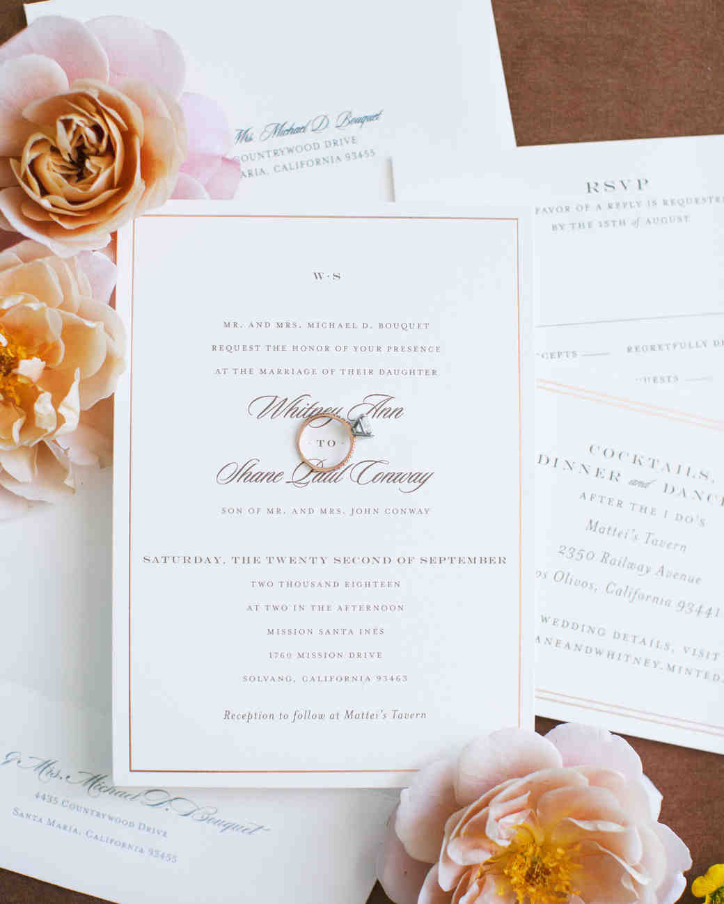 wedding invitation stationary creamy paper with classic font