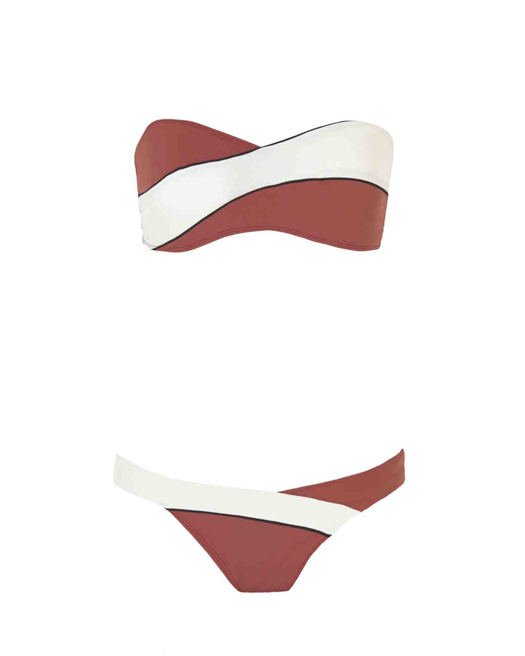 Red and White Colorblock Bikini