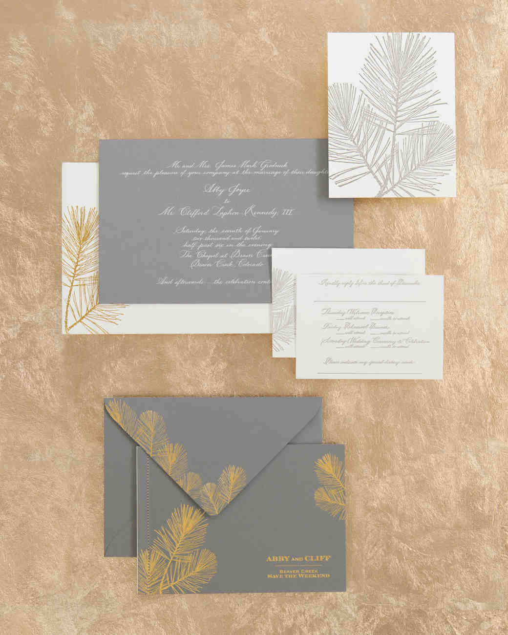 Pine Needle Wedding Invitations