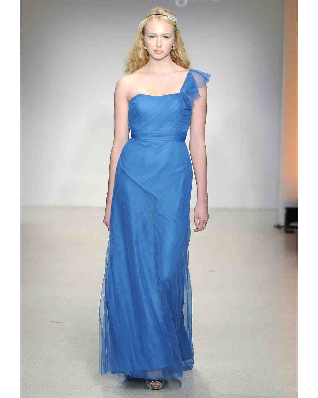 e0c7de0730 Long Blue Bridesmaid Dress. Alfred Angelo