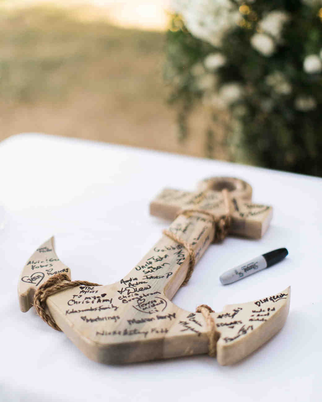wooden anchor guest book