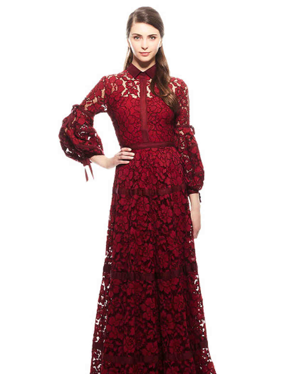 burgundy long sleeve lace gown