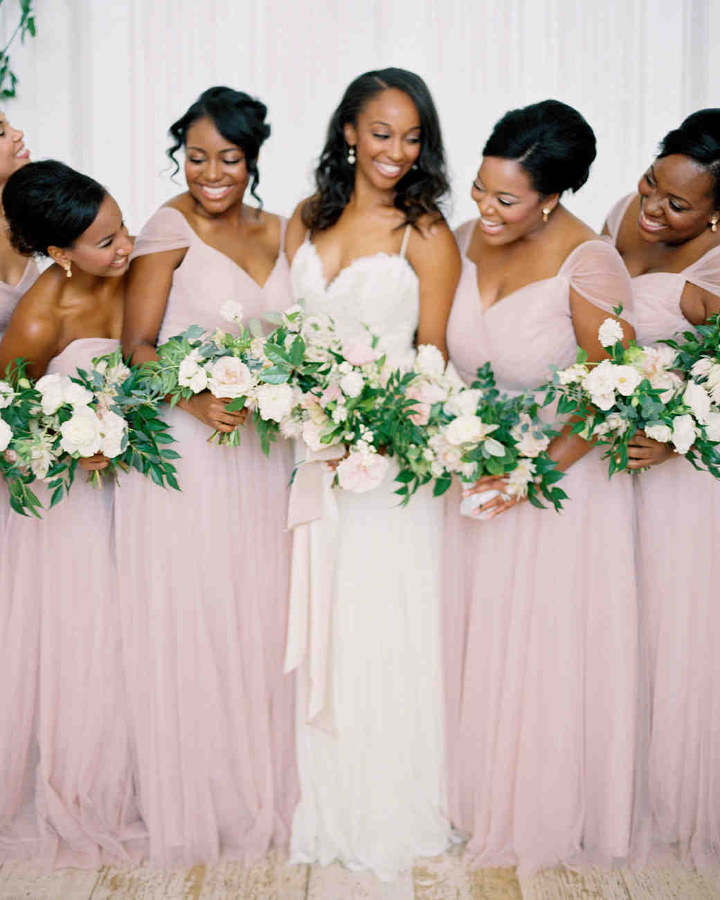 chic bridesmaids chiffon garden style gown