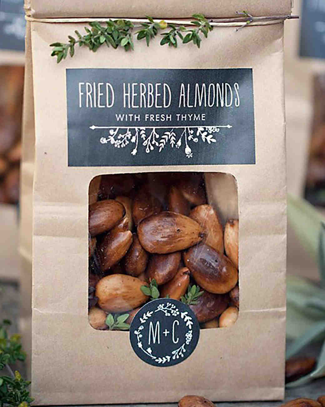 fried herb almonds edible wedding favors