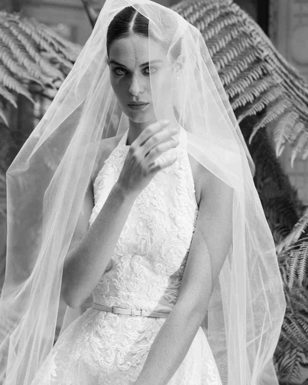 elie saab fall 2019 high neck floral applique with belt wedding dress