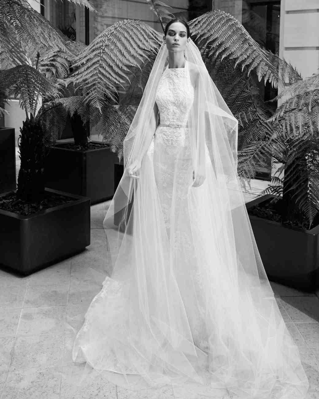 elie saab fall 2019 high neck with belt wedding dress