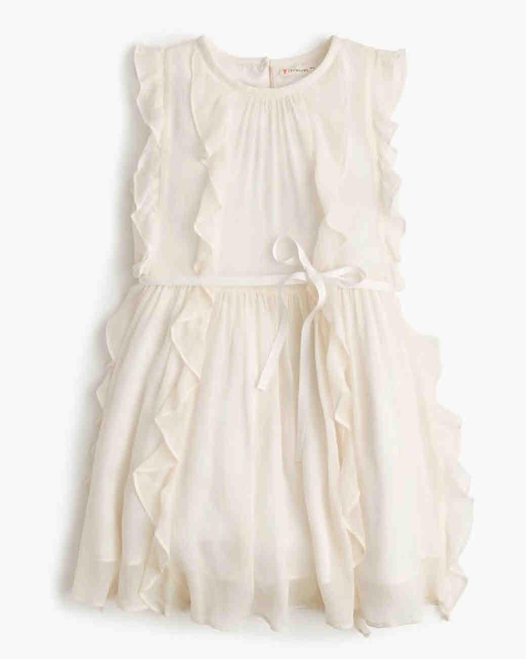 white ruffle flower girl dress