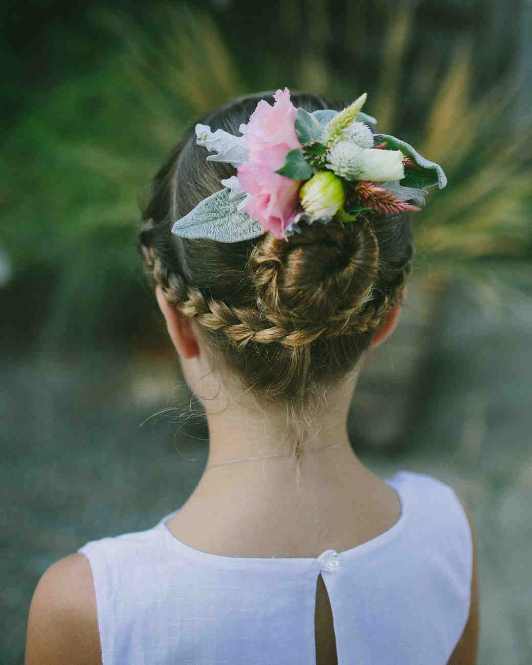 Flower Girl Hairstyle Under Braid and Bun