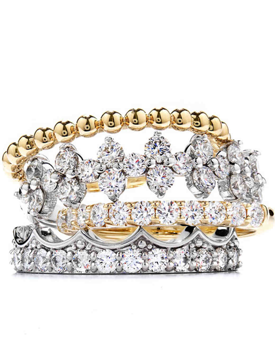 hearts on fire mixed metal diamond stacking wedding rings - Stacked Wedding Rings