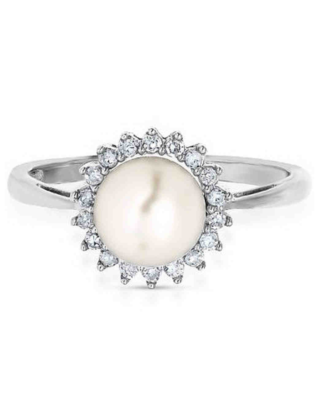 Pretty pearl engagement rings martha stewart weddings for Pearl engagement ring with wedding band