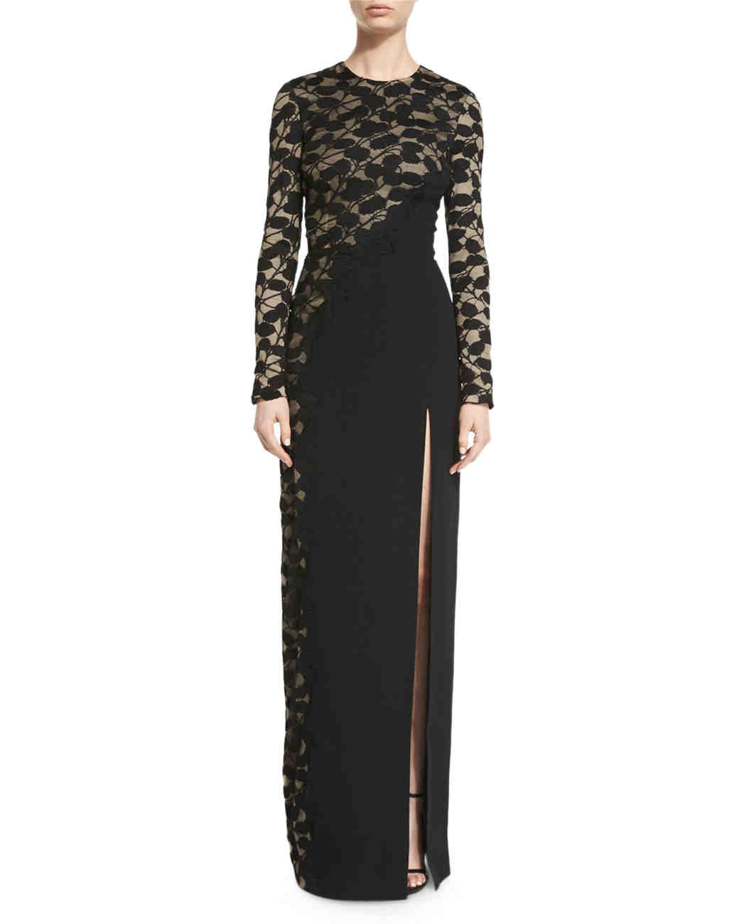 Black Long-Sleeved Lace Gown
