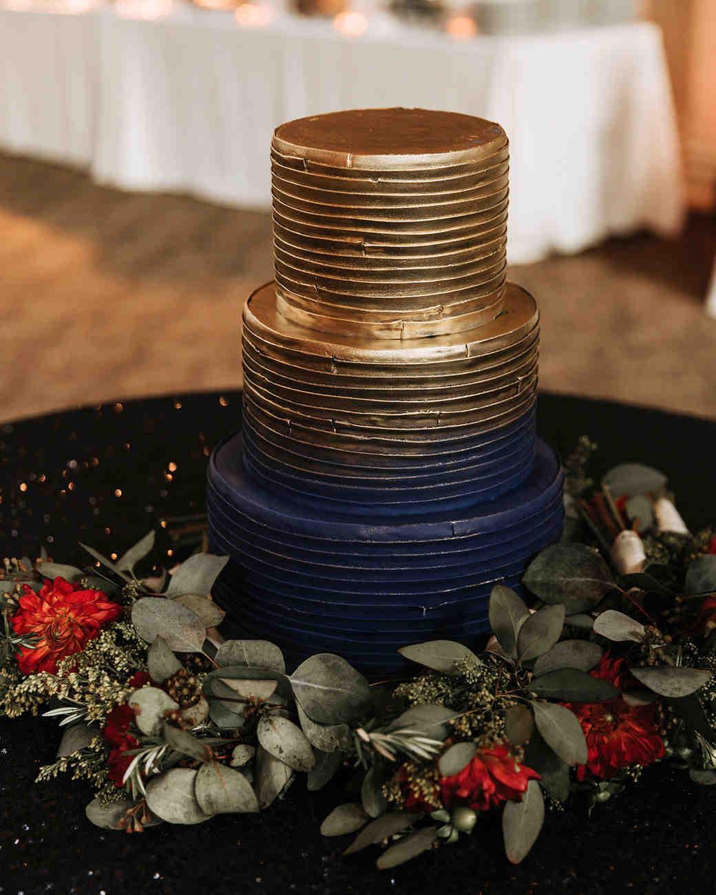 joe tim new orleans wedding cake gold dark blue