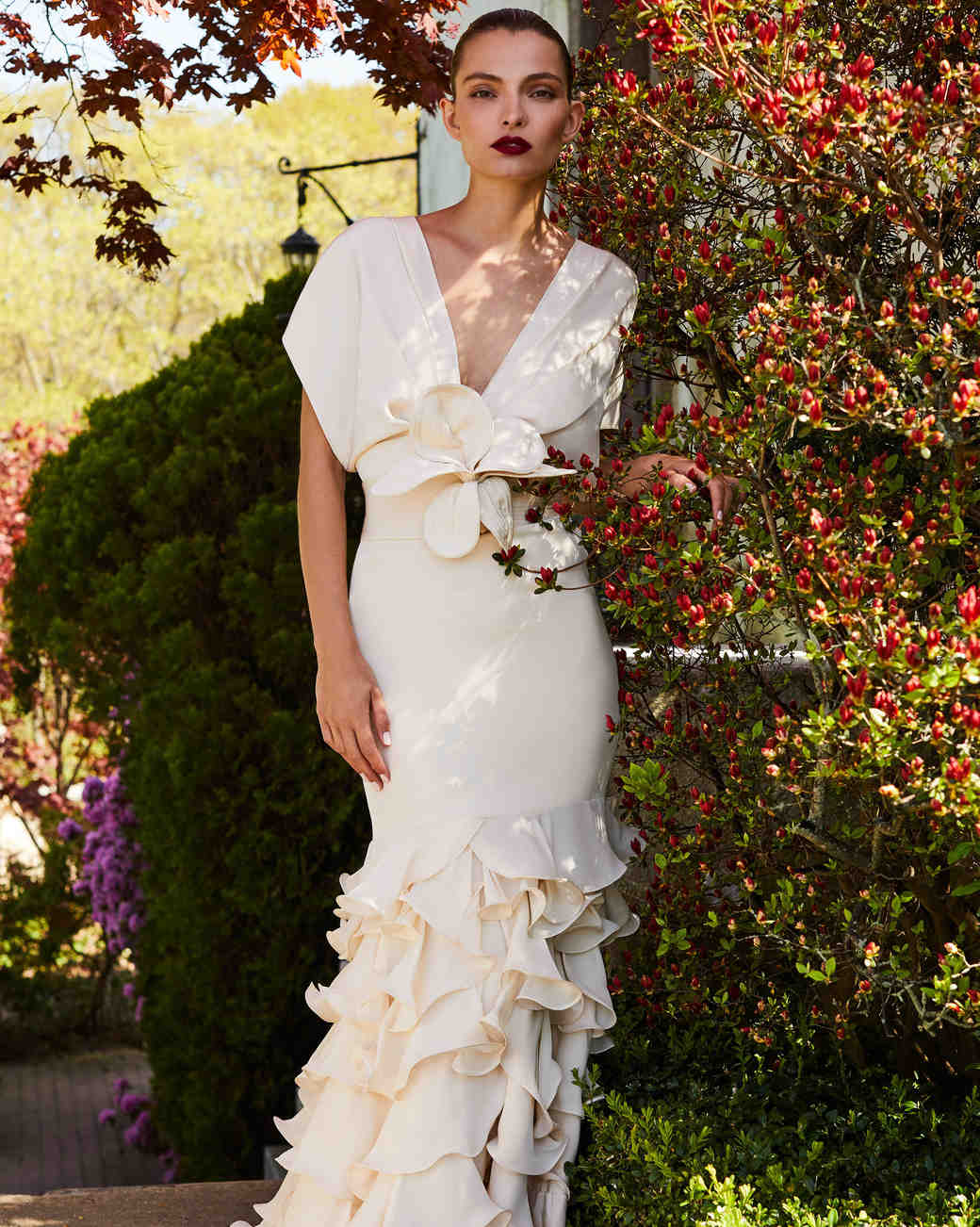 johanna ortiz moda operandi v-neck ruffle wedding dress