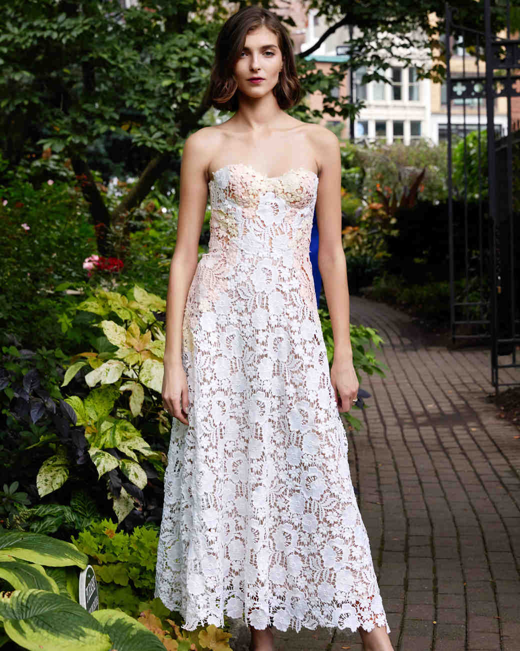 lela rose strapless tea length wedding dress fall 2019