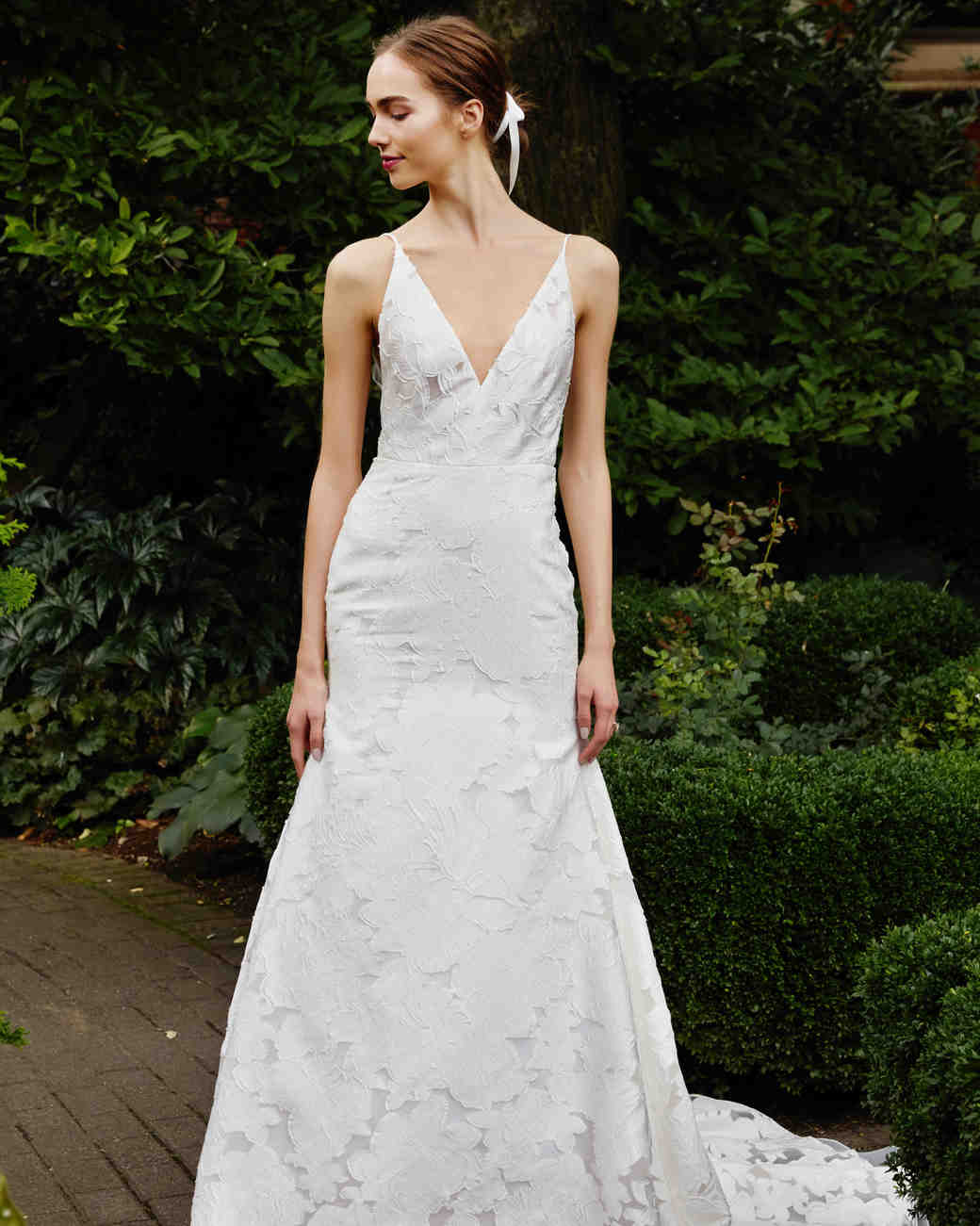 Lela Rose v-neck wedding dress fall 2019