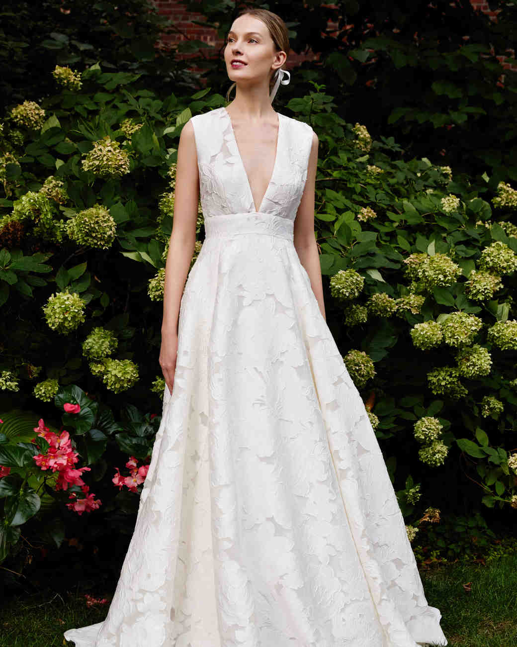 Lela Rose a-line v-neck wedding dress fall 2019