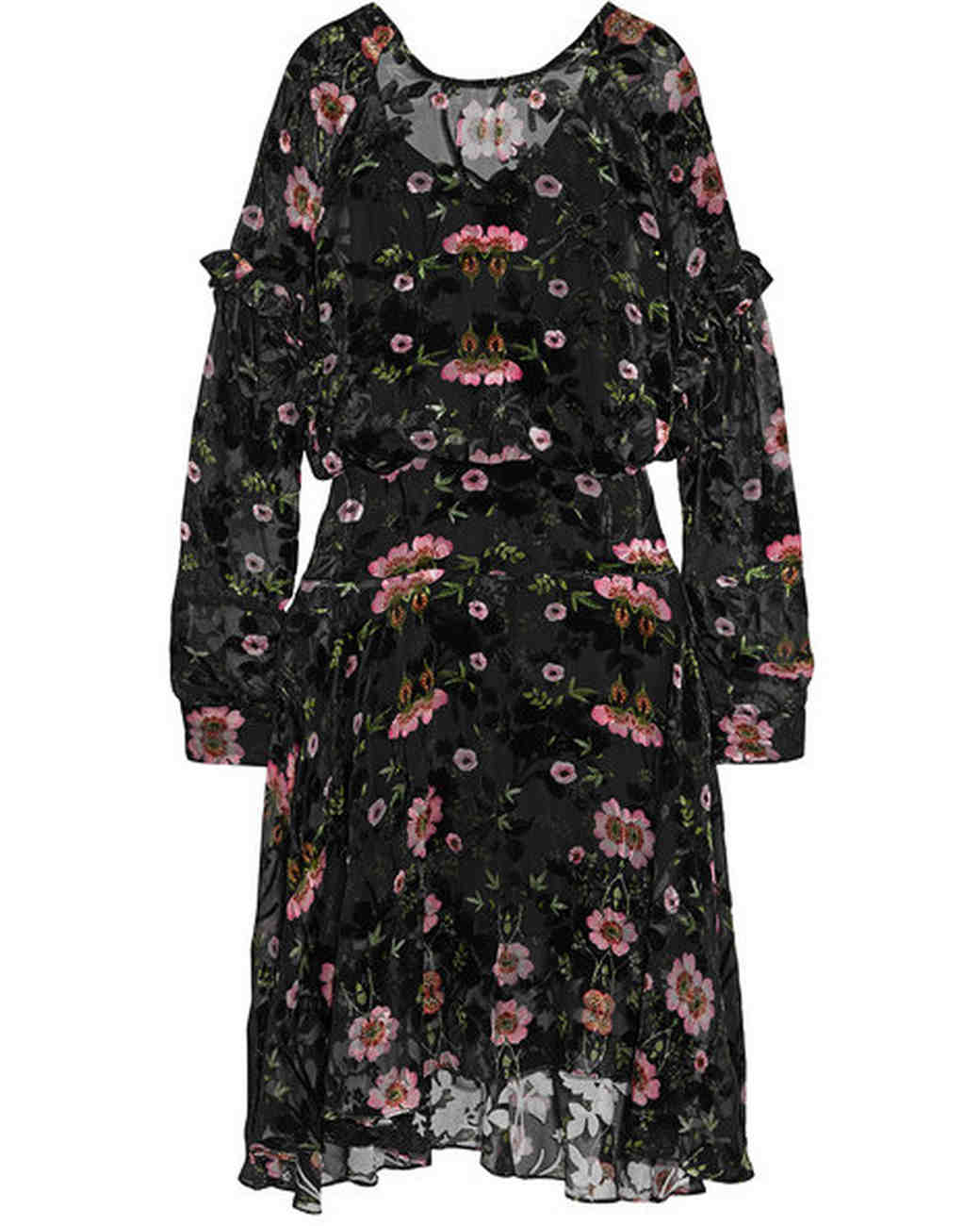 long sleeve black floral gown