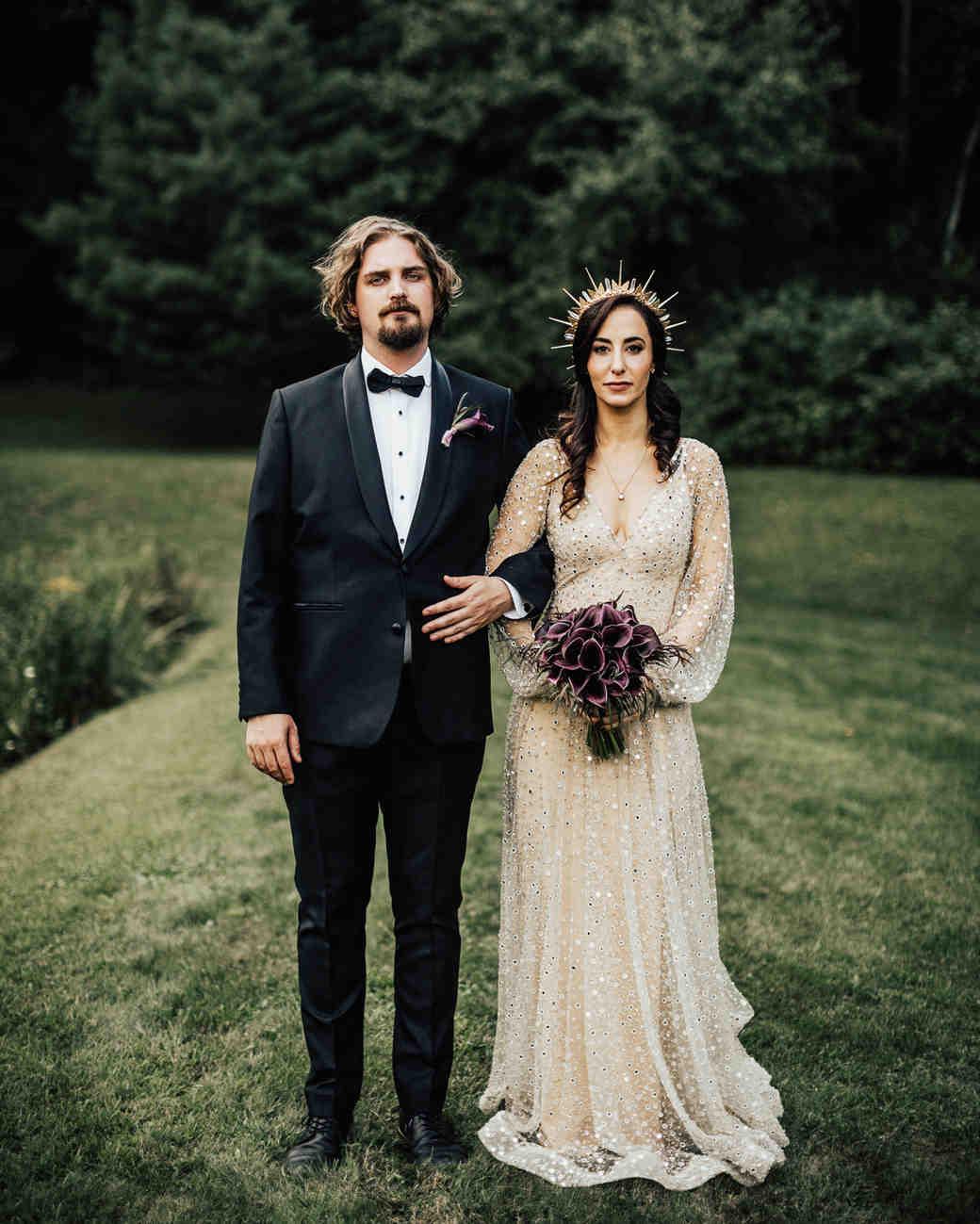bride and groom far out wedding portrait