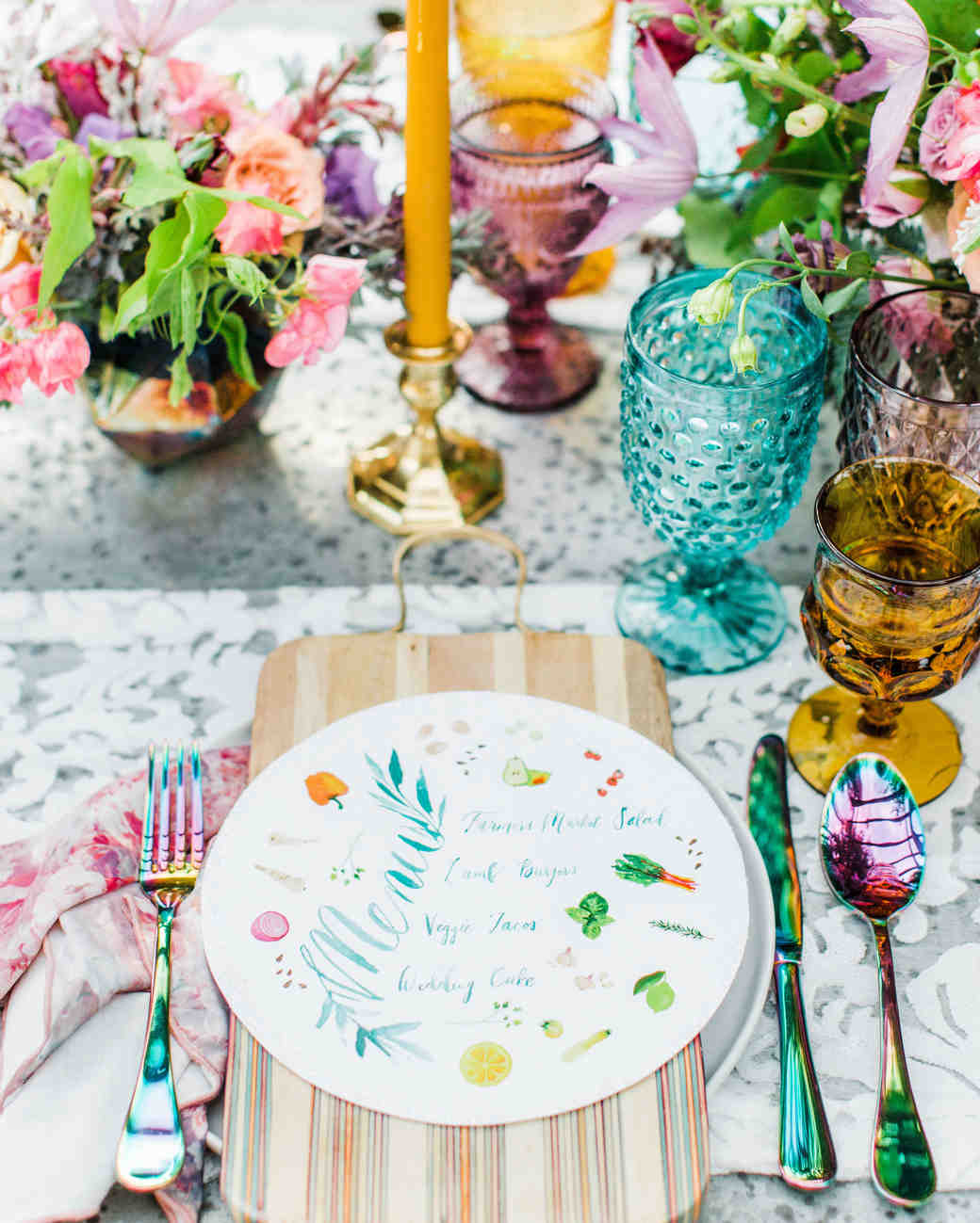 colorful menu placesetting