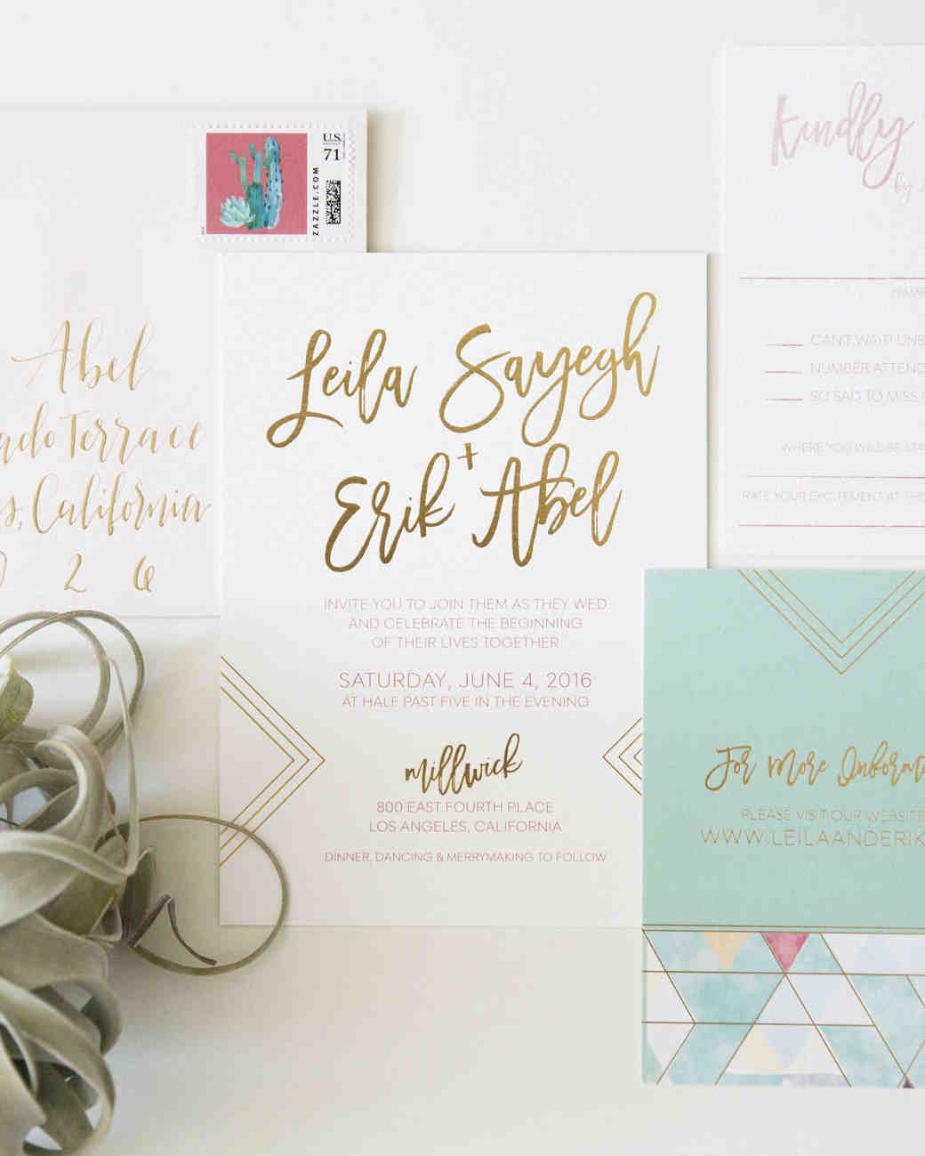Gold and light teal wedding invitation suite with calligraphy
