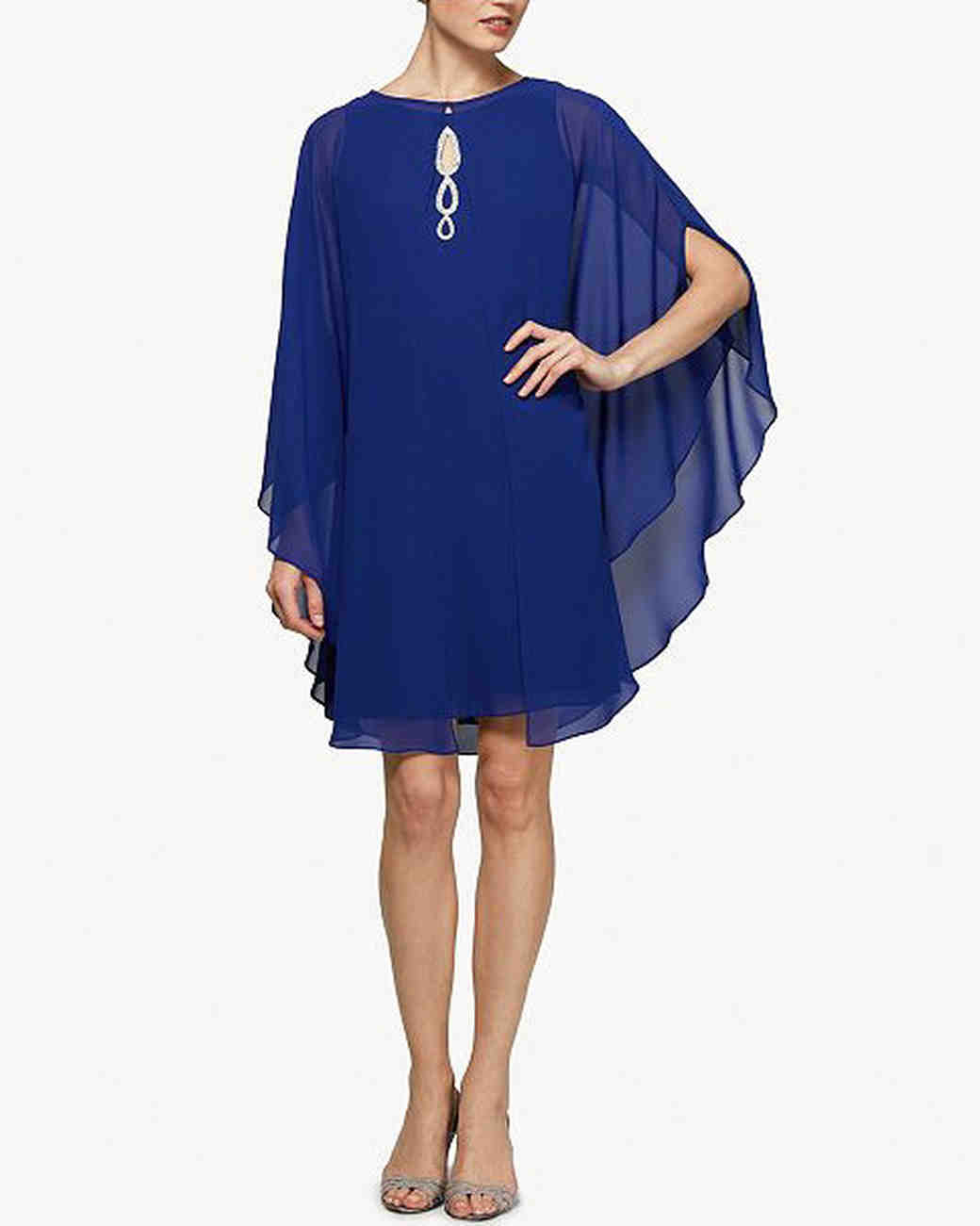 mother of the bride dress blue embellished capelet dress