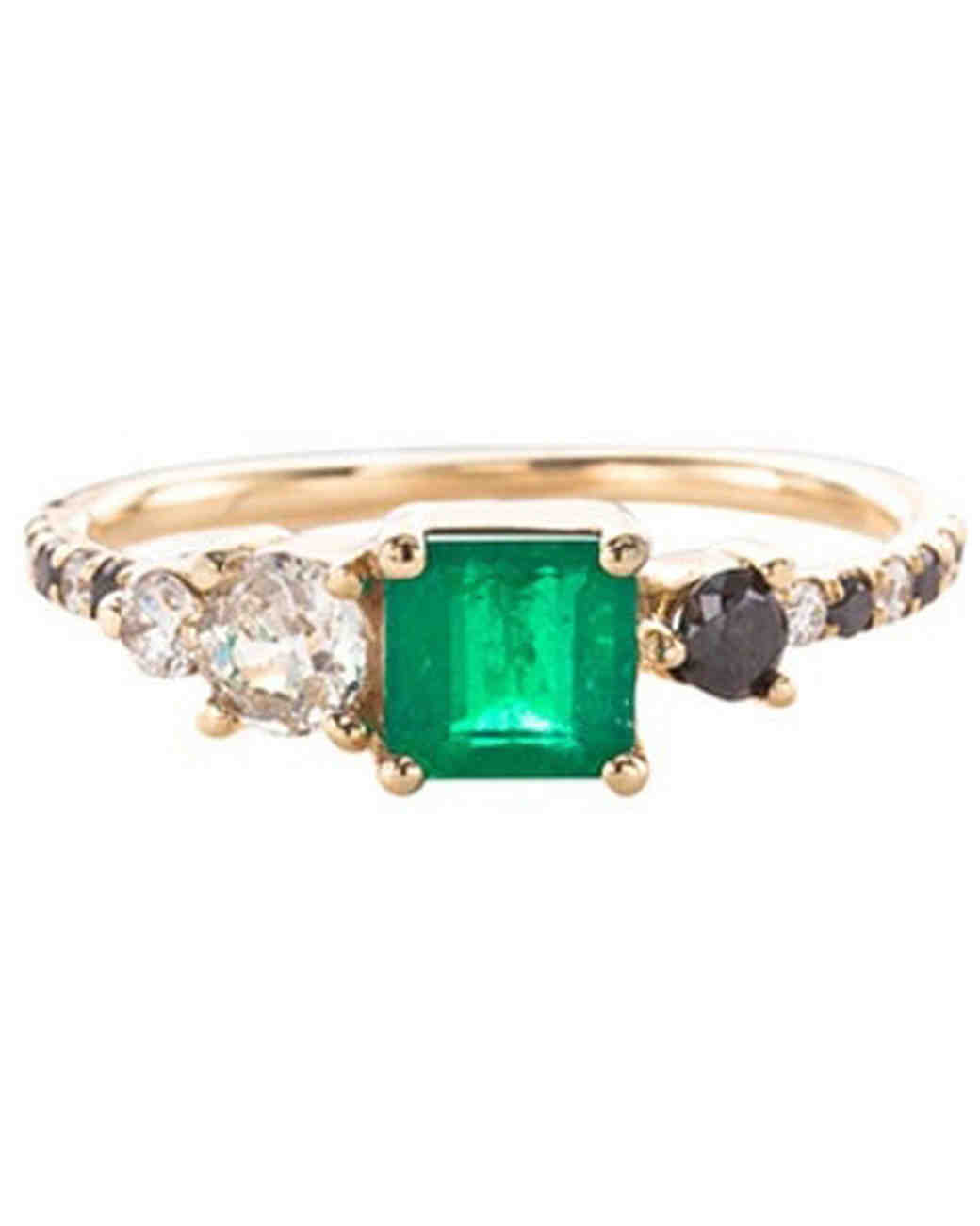 Mociun Emerald Engagement Ring