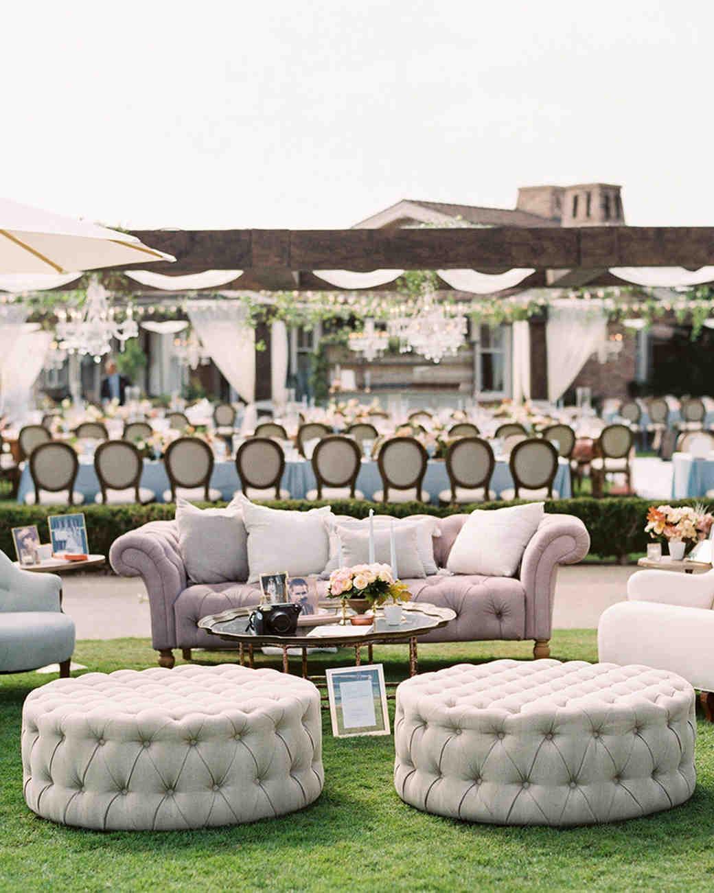 mykaela and brendon wedding lounge seating on lawn