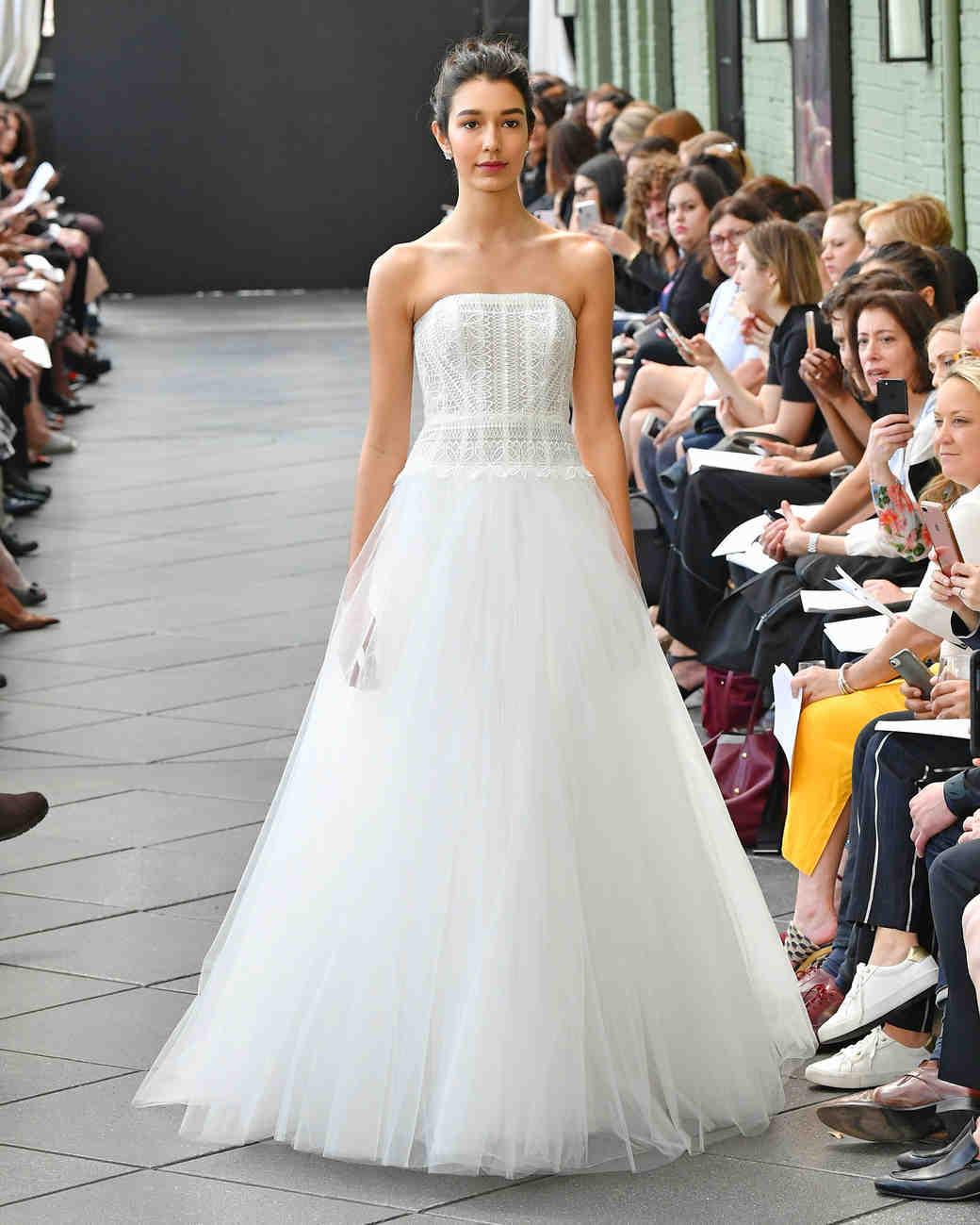 nouvelle amsale wedding dress spring 2019 strapless patterned a-line