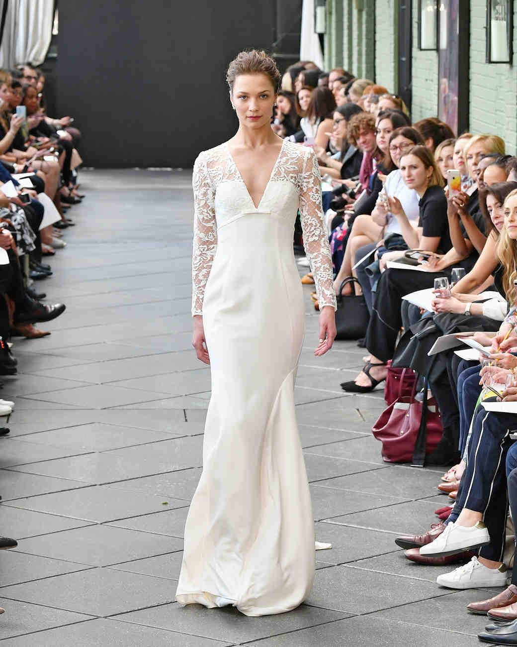 nouvelle amsale wedding dress spring 2019 long sleeve v-neck